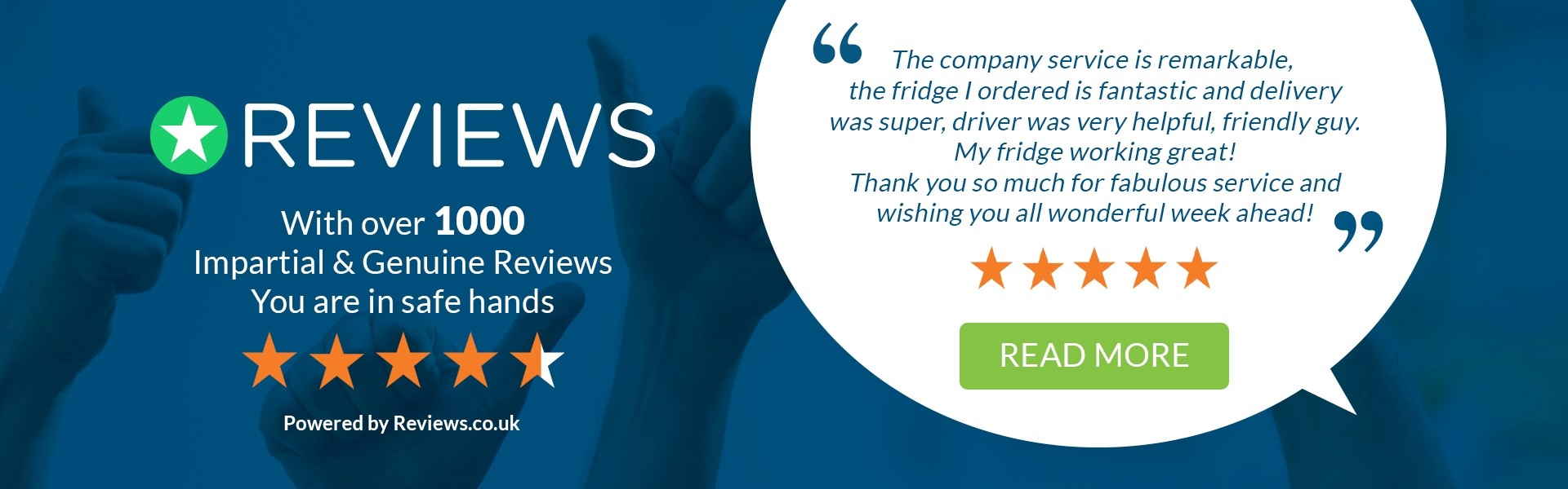 We are highly rated on Reviews.co.uk