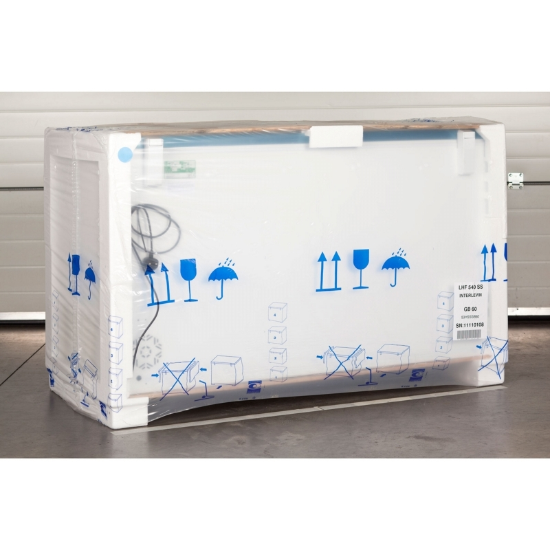 Packaged LHF540SS chest freezer ready for shipping